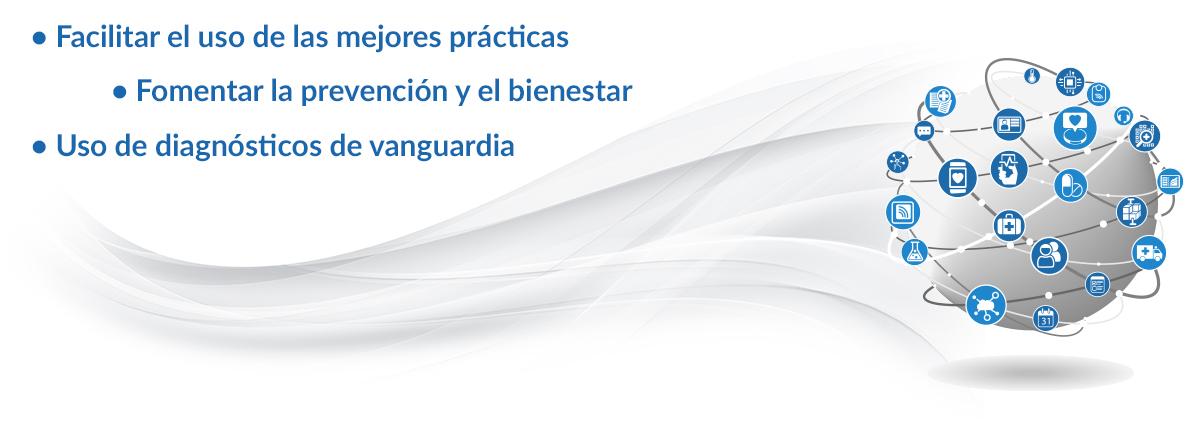 • Facilitar el uso de las mejores prácticas • Fomentar la prevención y el bienestar • Uso de diagnósticos de vanguardia